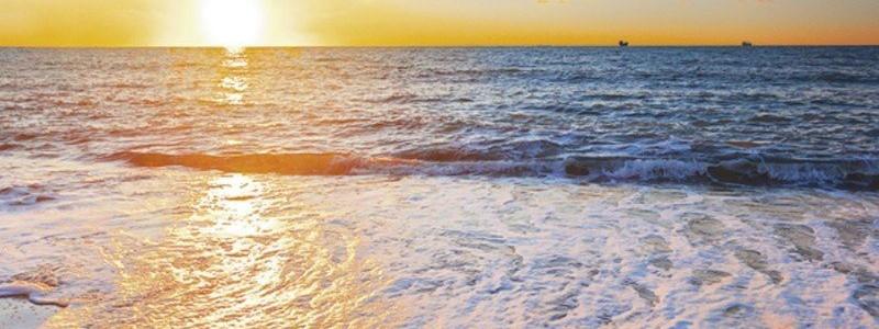 artland-glasbild-sonnenuntergang-meer-landschaften-strand-foto-blau
